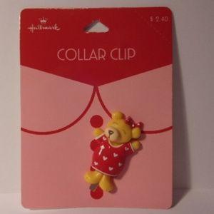 Vintage Hallmark Valentine Bear Collar Clip
